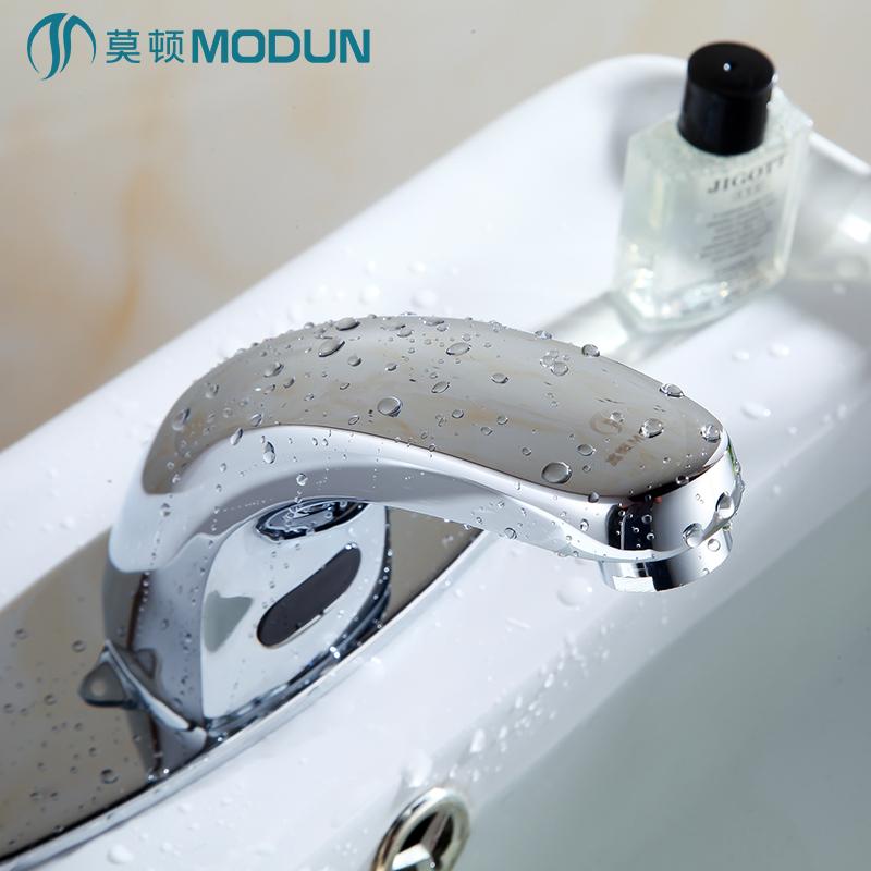 莫顿全铜智能单冷感应水龙头全自动红外线感应式洗手器面盆龙头