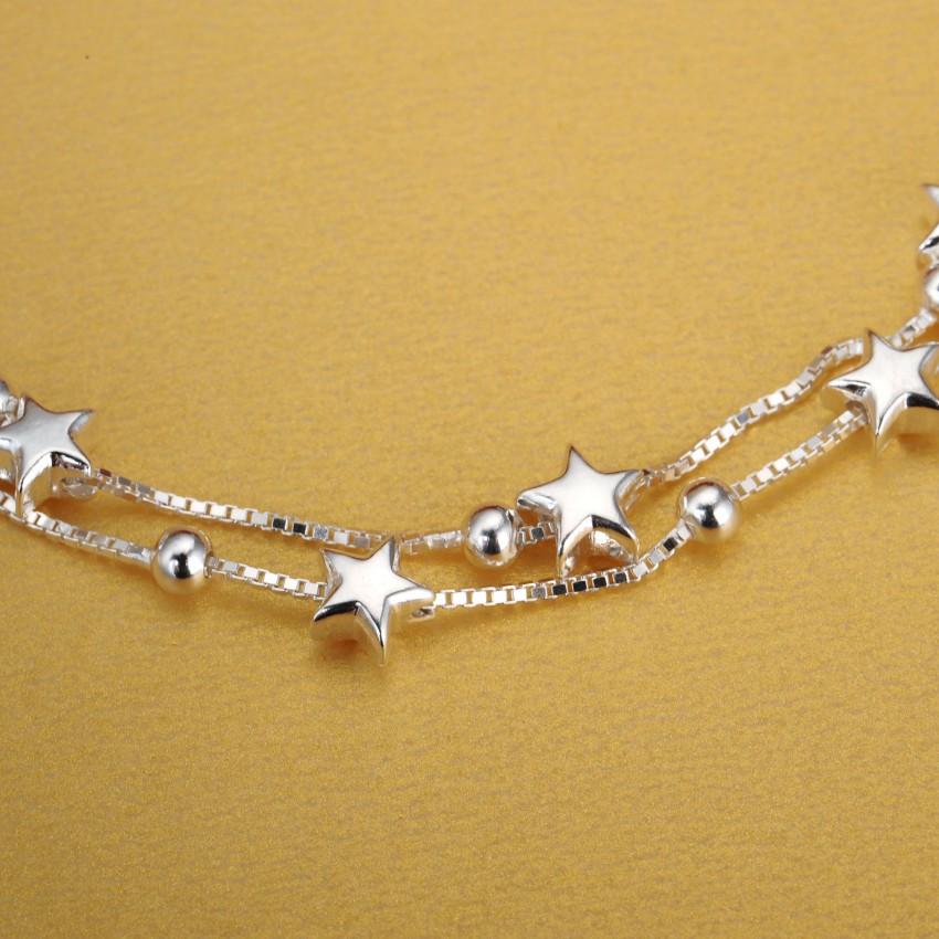 正品S990纯银手链女时尚韩版甜美简约双层手链女星星款学生礼物
