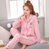 Pajamas women spring and autumn long-sleeved cotton ladies cotton 2019 new female soil summer thin section 2020 new product suit