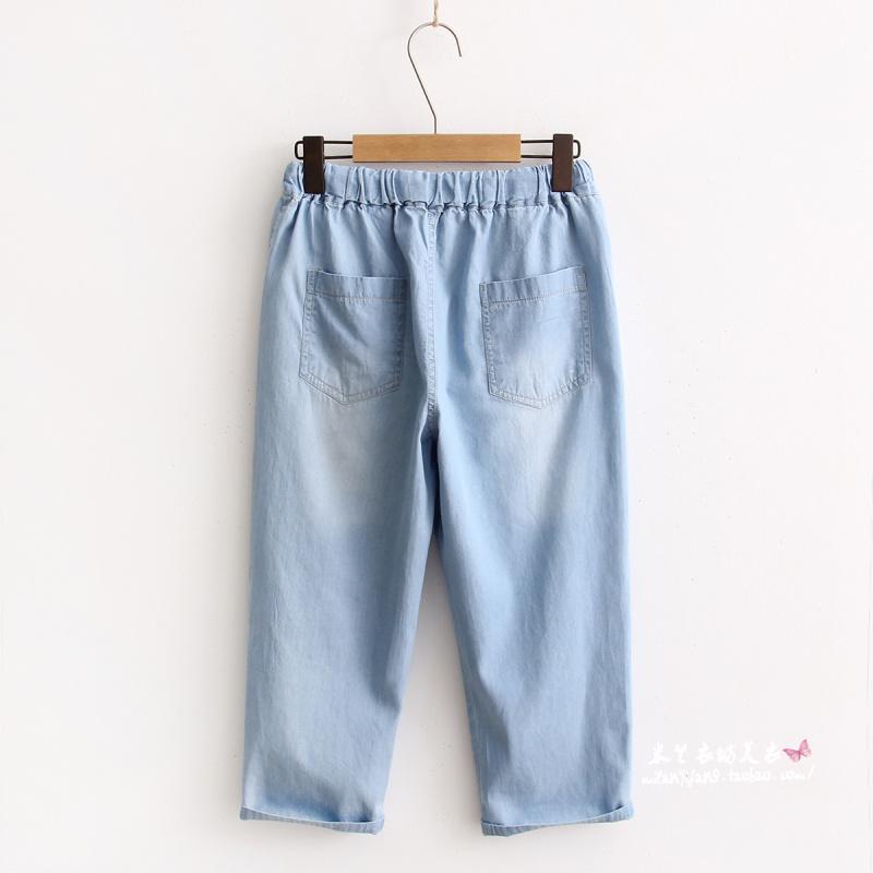 牛仔七分裤女韩版松紧腰可爱猫咪刺绣纯色薄款学生直筒裤夏季新款