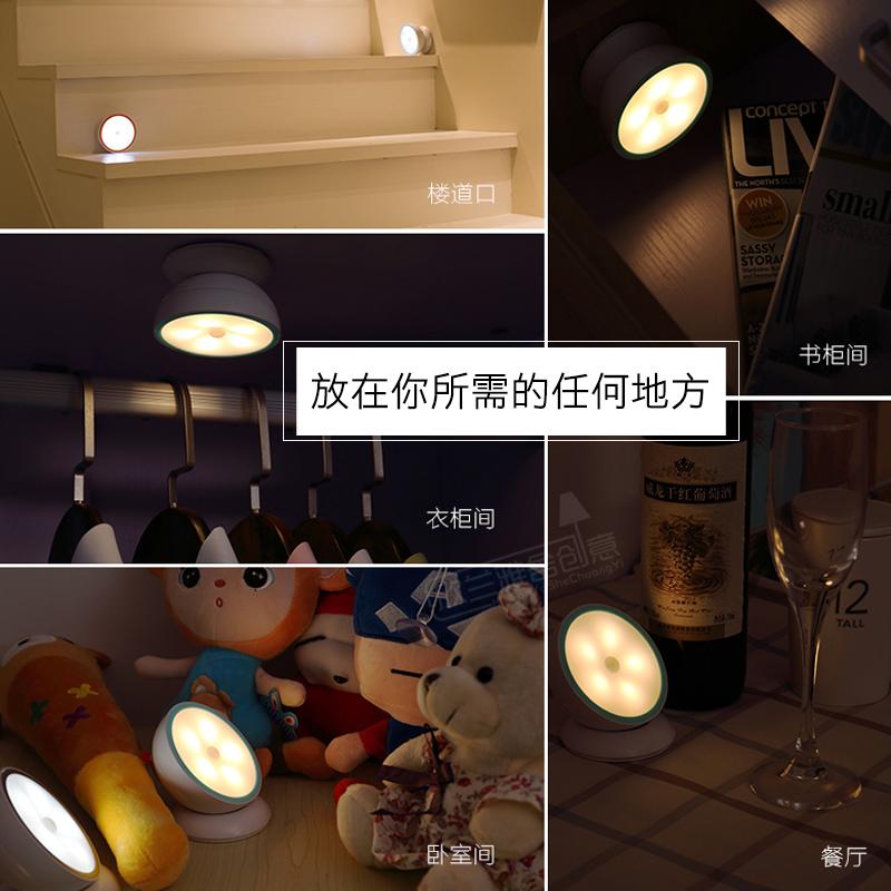 充电led家用光控声控台灯卧室床头小夜灯泡过道楼道衣柜人体感应