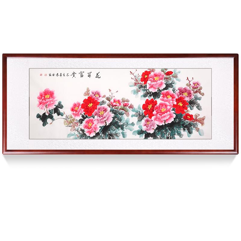 手繪國畫牡丹畫客廳掛畫花開富貴風水招財裝飾畫手繪真跡花鳥定制