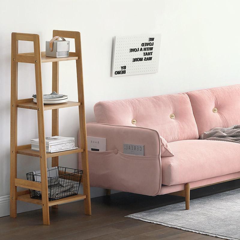 北陌实木书架日式家具原木简易小书柜简约落地梯形柜子北欧置物架
