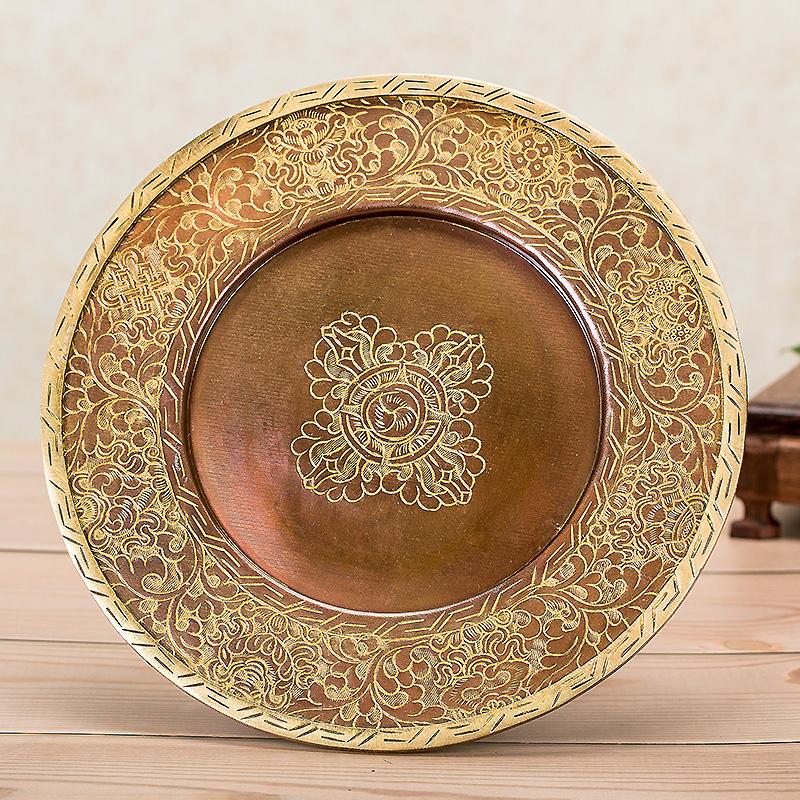 佛教用品尼泊尔进口纯手工雕花 纯铜紫铜色镀金佛教曼扎盘中号
