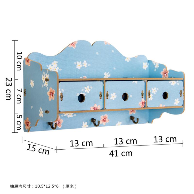 木质挂墙收纳盒带挂钩墙上置物架家居创意壁挂收纳架多抽屉整理架