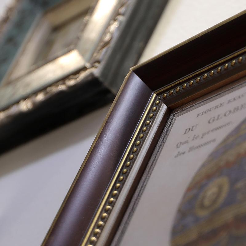 北欧创意欧式实木挂墙相框组合 客厅美式复古怀旧照片墙 添色彩绘