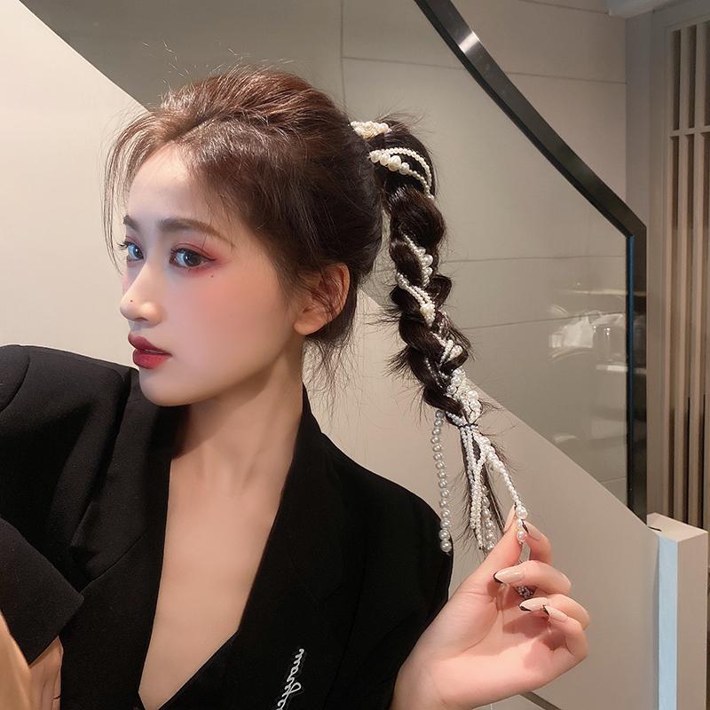 杨超越同款珍珠编发链发饰夏发夹超仙气ins发卡发带女绑发头饰潮