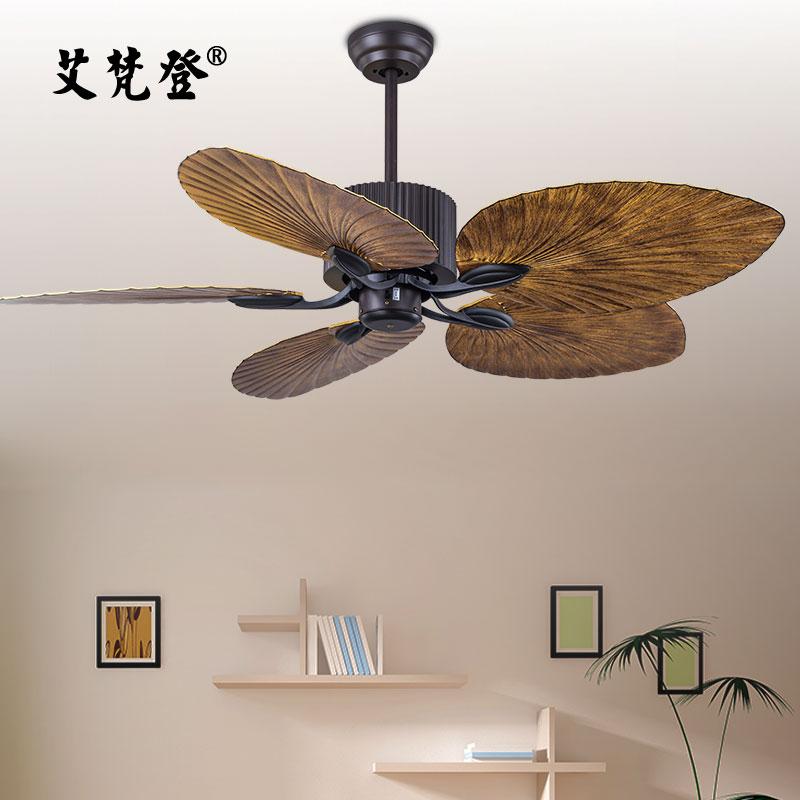 艾梵登变频带灯电风扇灯美式吊扇灯餐厅欧式复古客厅家用遥控吊灯