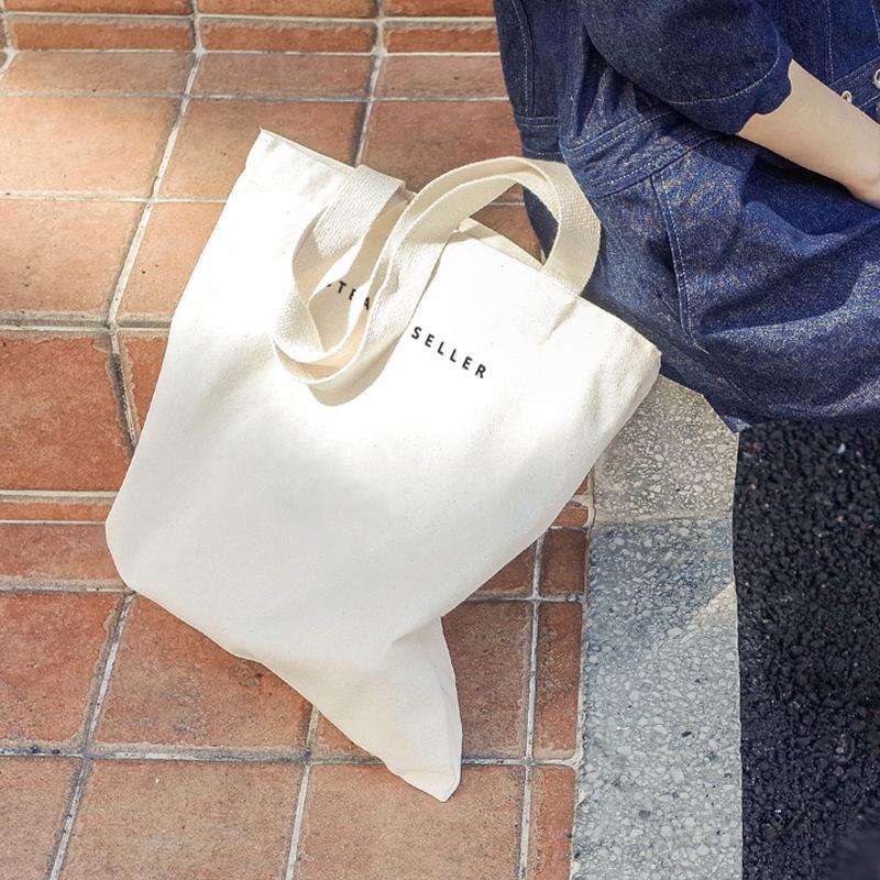 韩国简约字母帆布袋男女文艺单肩帆布包环保袋文艺生帆布袋购物袋