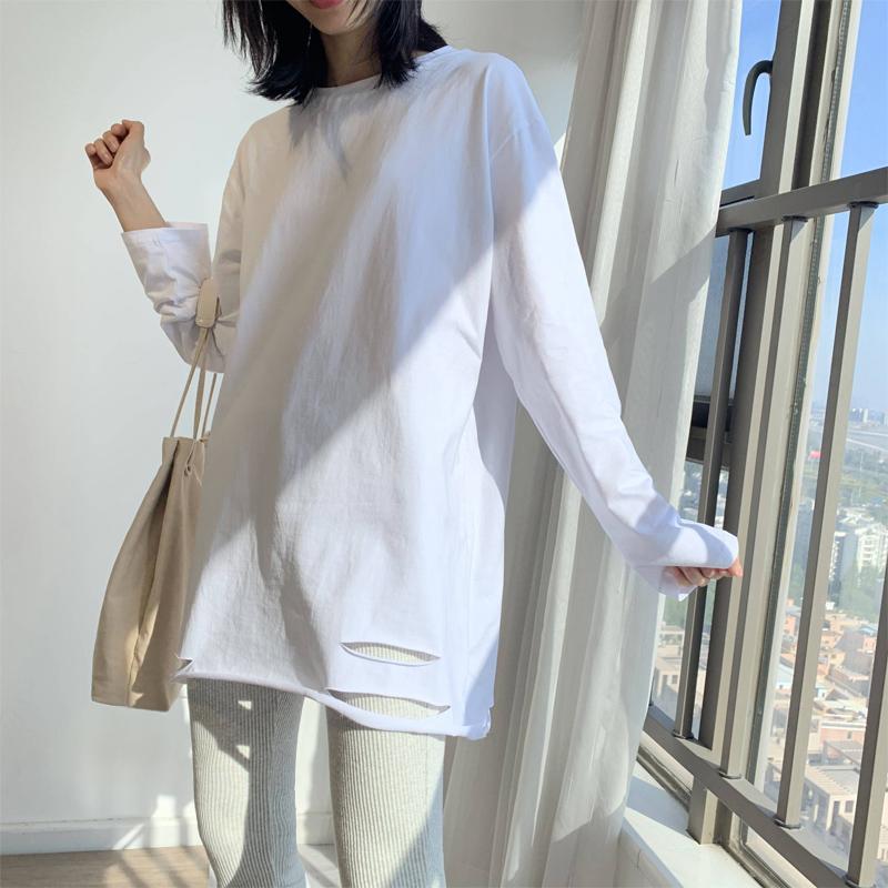 白色t恤女打底衫内搭纯白长袖纯棉秋衣外穿宽松上衣春季韩版叠穿