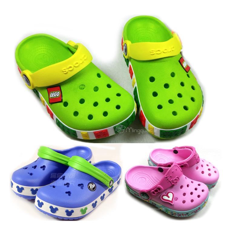 包邮cross小熊维尼熊婴儿童鞋男女孩乐高洞洞鞋沙滩凉鞋宝宝拖鞋