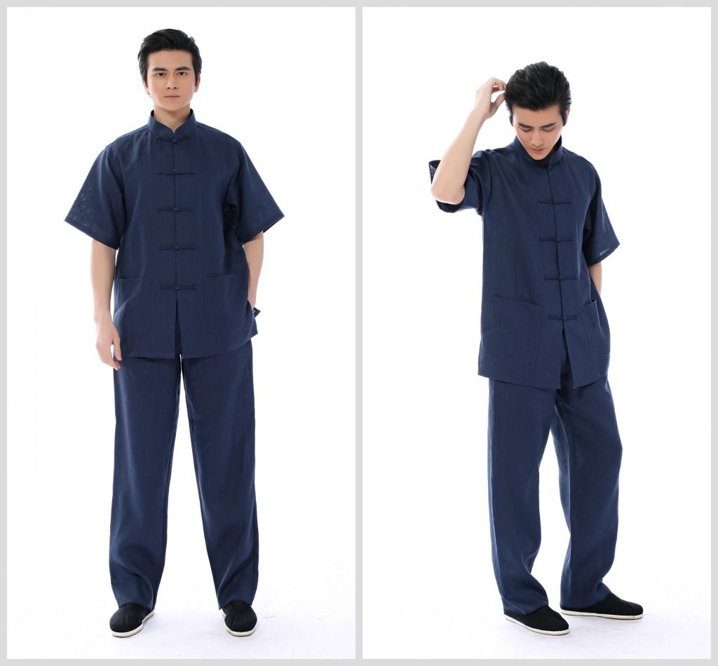 男士加肥加大码短袖唐装胖人套装夏季中老年亚麻肥佬可定做两件套