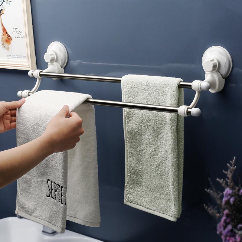 衛生間吸盤式毛巾架浴室無痕浴巾架掛架廁所免打孔雙杆毛巾杆掛杆