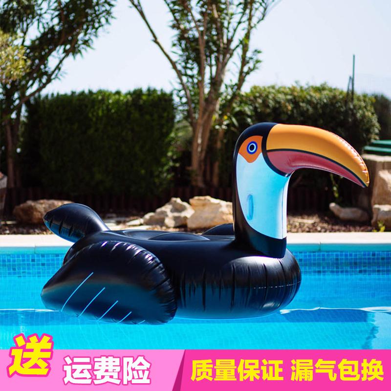 超大水上充氣火烈鳥巨嘴鳥坐騎浮床浮排 成人游泳圈休閒漂浮躺床