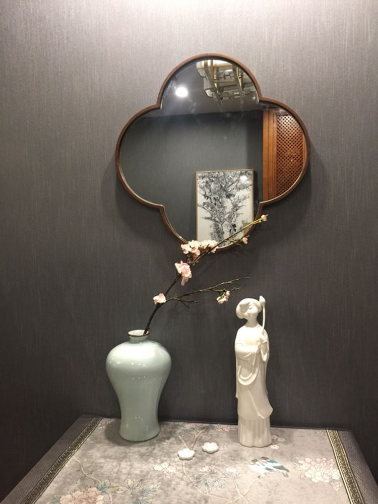 北欧铁艺梅花镜镜圆形镜子化妆镜浴室镜穿衣镜圆镜壁挂试衣镜挂镜