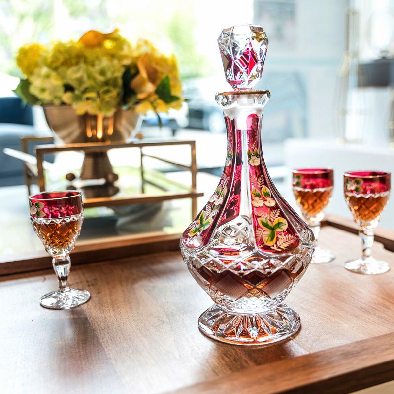 捷克进口BOHEMIA波西米亚水晶玻璃红酒葡萄酒酒具7件套套装