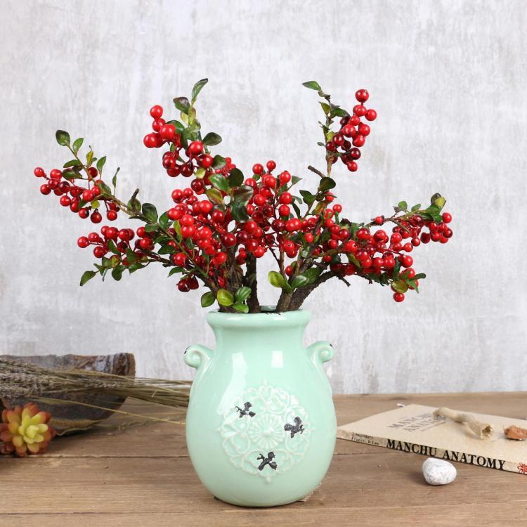 高仿真圣诞果 红浆果 蓝莓果  发财果 假野果子 客厅装饰假花摆件