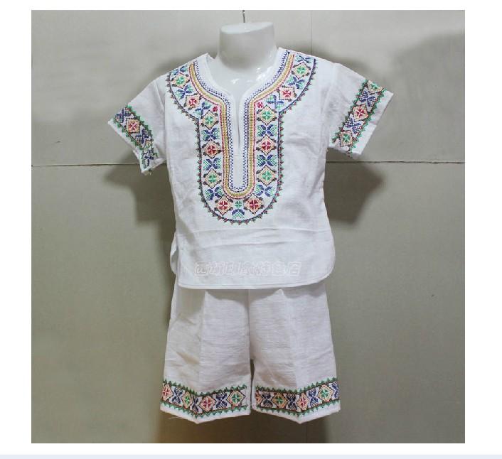 新疆品牌民族刺繡夏季舞臺演出六棉麻繡花兒童服裝襯衣特價