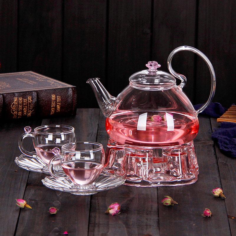 琉香 耐高溫玻璃茶具 泡茶壺 花茶壺套裝 花語逸仙壺4件組不掉蓋