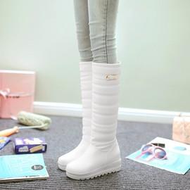 秋冬季女高筒雪地棉鞋加绒鞋子中坡跟内增高厚底橘色PU皮少女皮靴