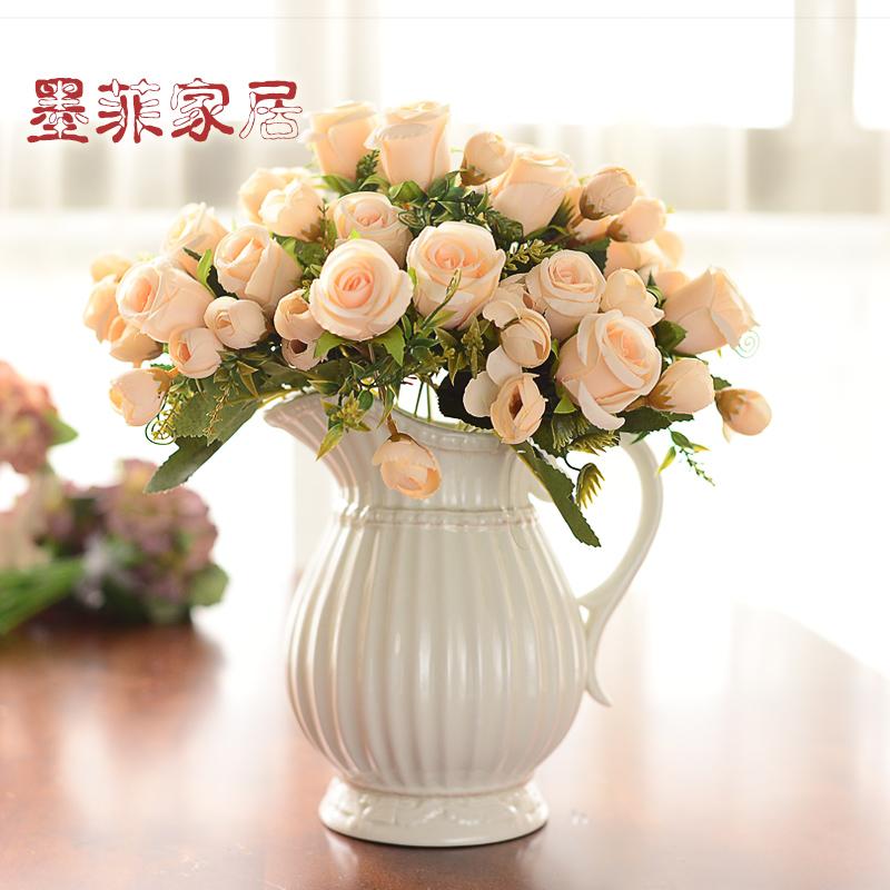 北欧式陶瓷花瓶美式创意仿真花艺简约现代客厅摆件装饰干花插花器