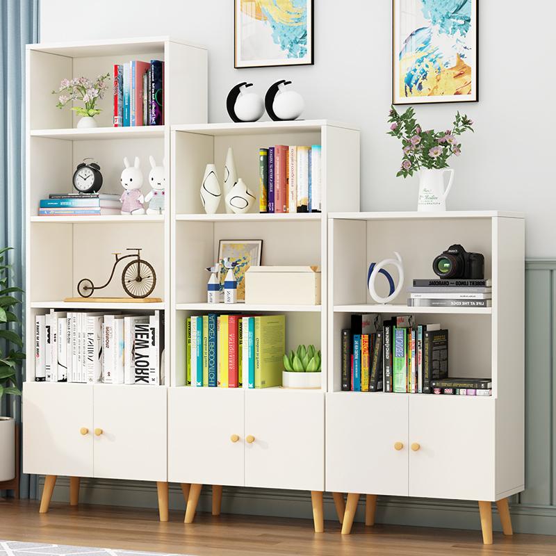 北欧书架置物架落地客厅卧室简易学生收纳简约家用组合小书柜带门