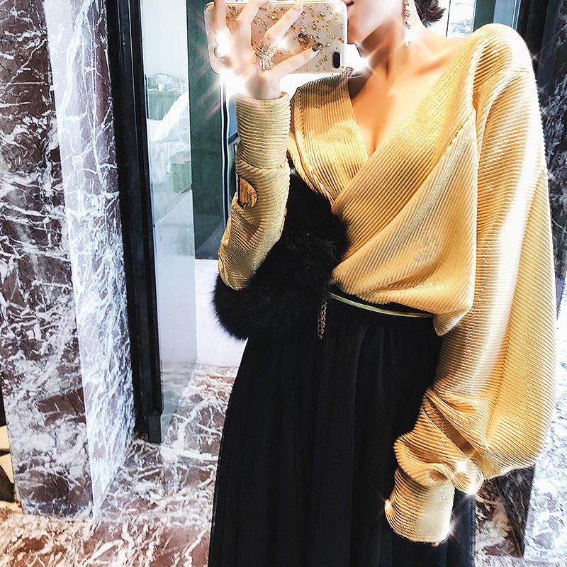 米尺2018新款女装秋装 欧美性感V领上衣闪光轻盈连体衬衫