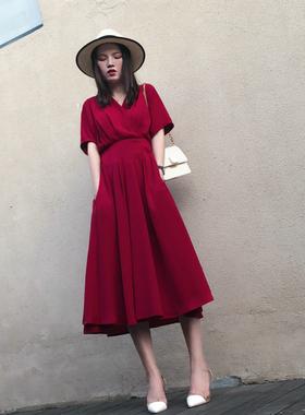 气质v领雪纺连衣裙2021新款春夏季红色仙女长裙超仙收腰显瘦流行
