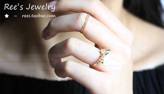 镶钻石 黄金 18k 小戒指 百搭 双臂款 日系 精致 双生 s Ree