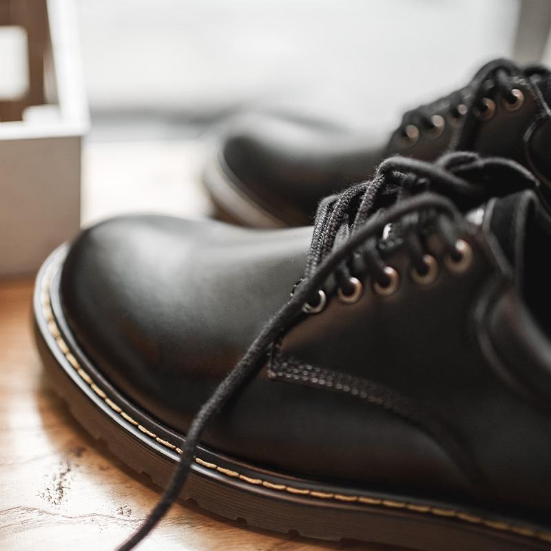 男鞋秋冬季潮鞋子 新款休闲皮鞋黑色大头马丁鞋百搭英伦风低帮  2019