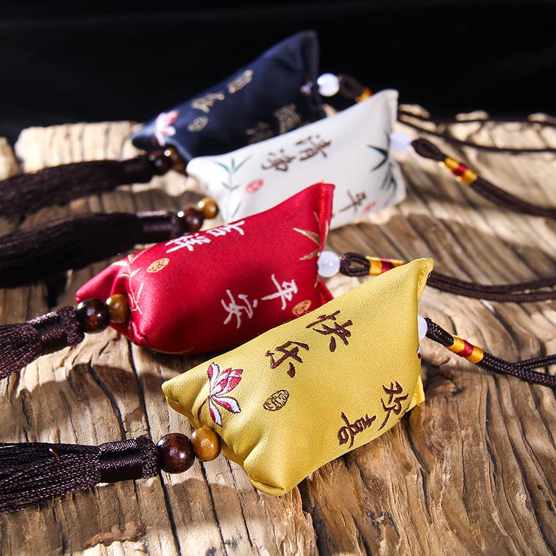 新款端午节锦缎粽子香包艾叶香囊吉祥车挂香囊端午挂件香袋车用