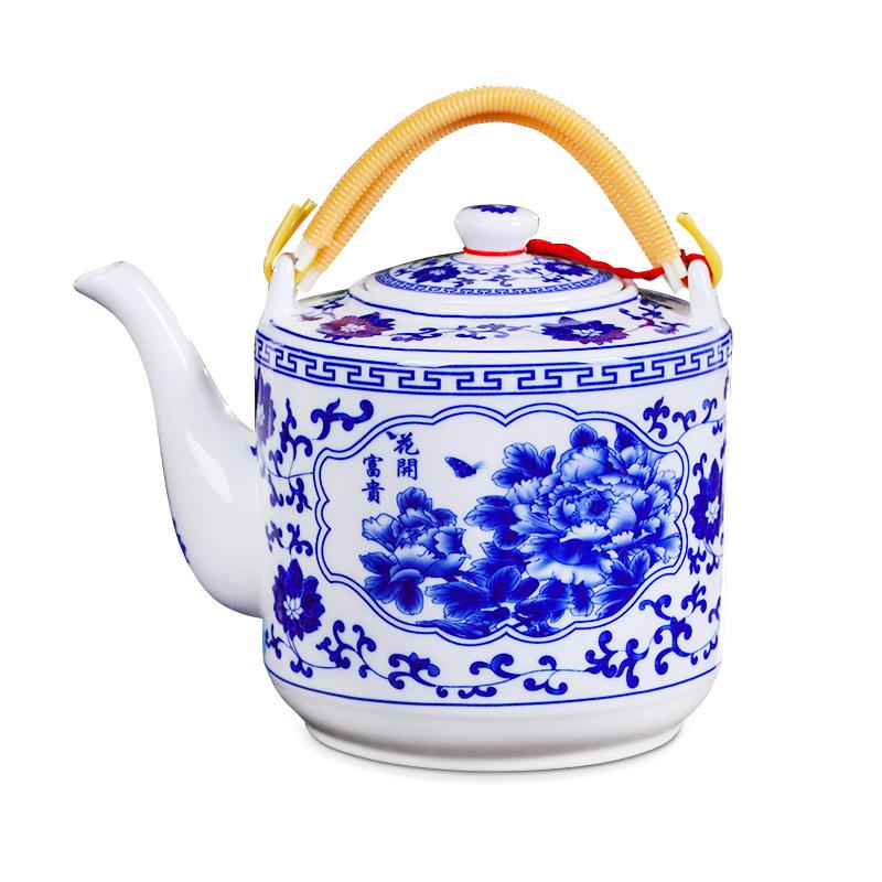 景德镇瓷器茶壶陶瓷大容量凉水壶大号青花瓷冷水壶提梁泡茶壶家用