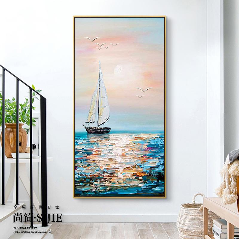 純手繪客廳油畫玄關裝飾畫過道走廊掛畫豎版厚油抽象壁畫一帆風順