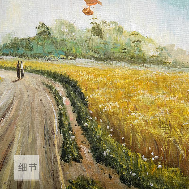 手繪油畫山水風景油畫現代歐式壁畫客廳裝飾畫臥室玄關過道 麥田