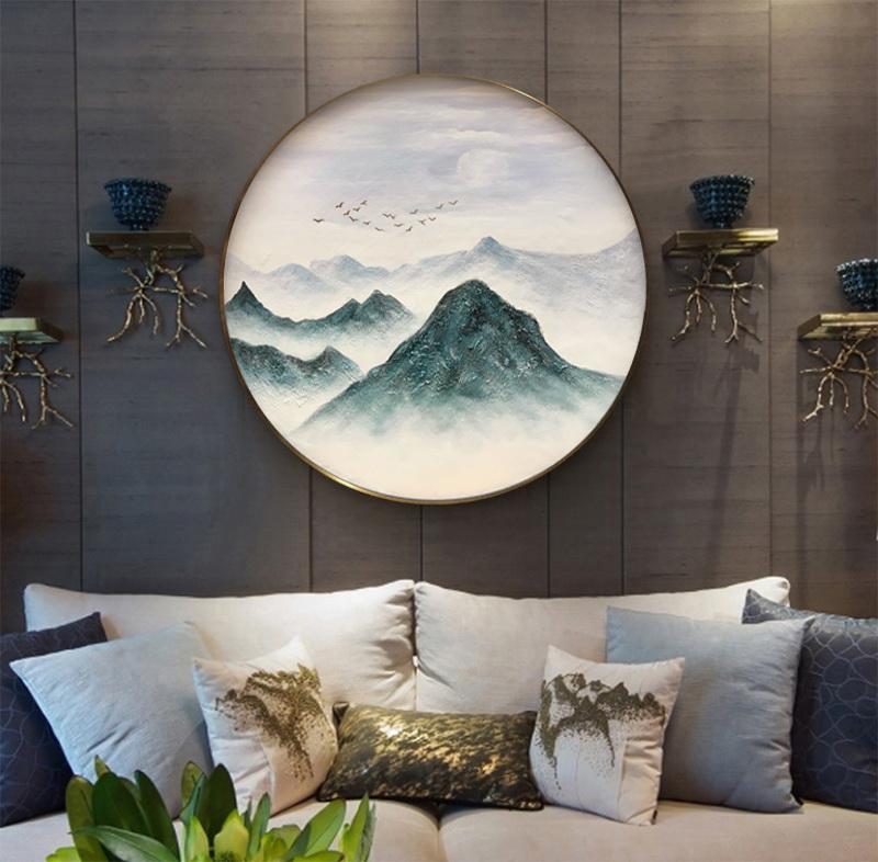 新中式圆形玄关画抽象山水风景挂画客厅样板间配画大芬村手工定制