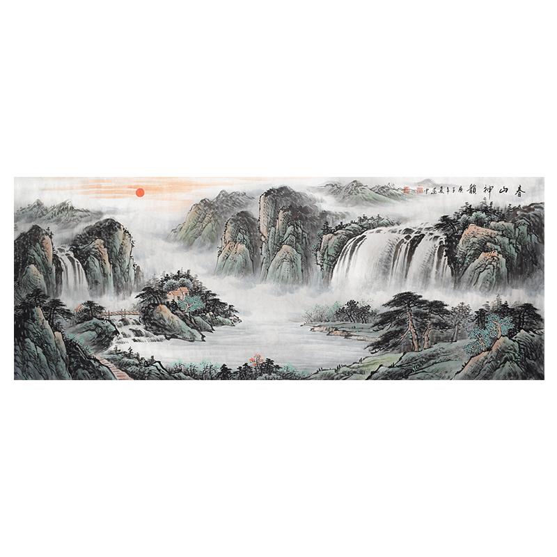 純手繪聚寶盆山水畫國畫招財靠山客廳橫版裝飾掛畫畫芯卷軸可帶框
