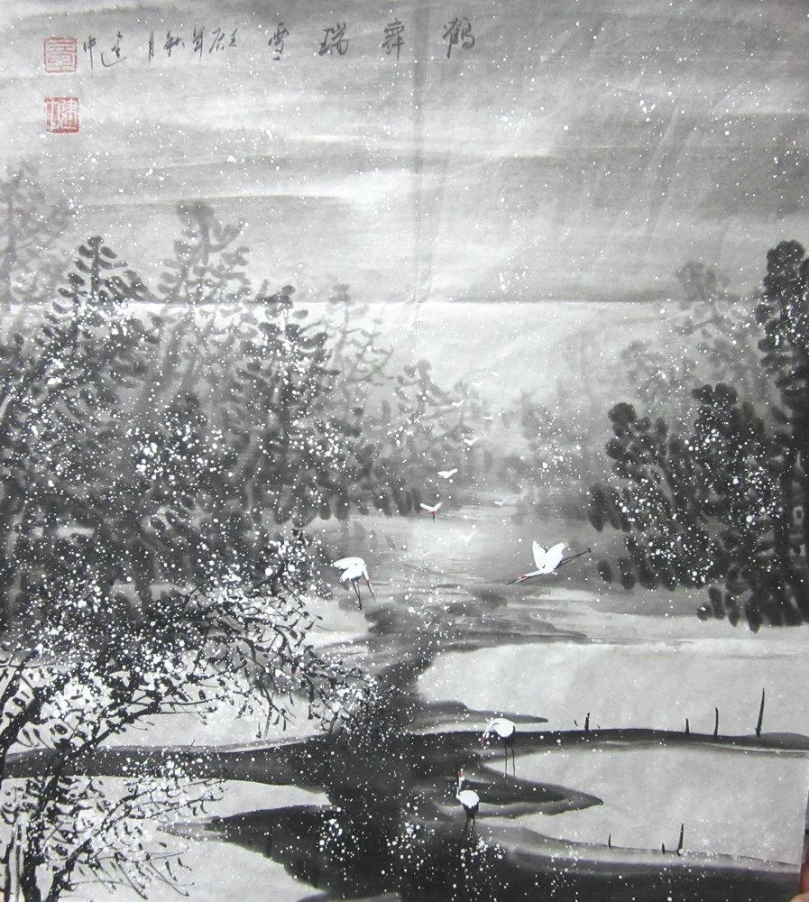 斗方國畫/春夏秋冬/書房餐廳水墨畫中美協純手繪書畫作品字畫真跡