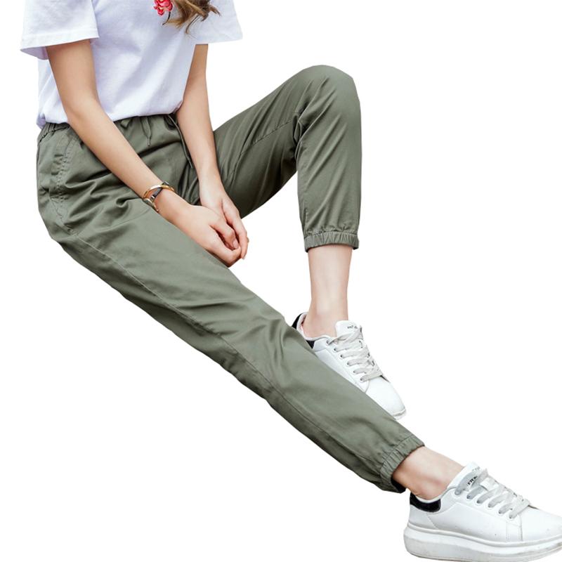 裤子女夏束腿工装裤女宽松束脚运动休闲女裤夏季薄款显瘦九分哈伦