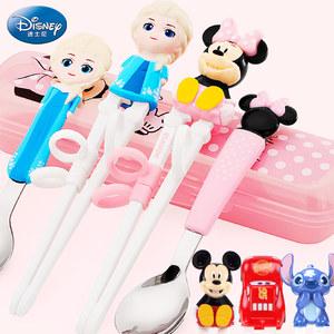 迪士尼儿童筷子训练筷一段练习筷家用宝宝学习筷小孩餐具勺子套装