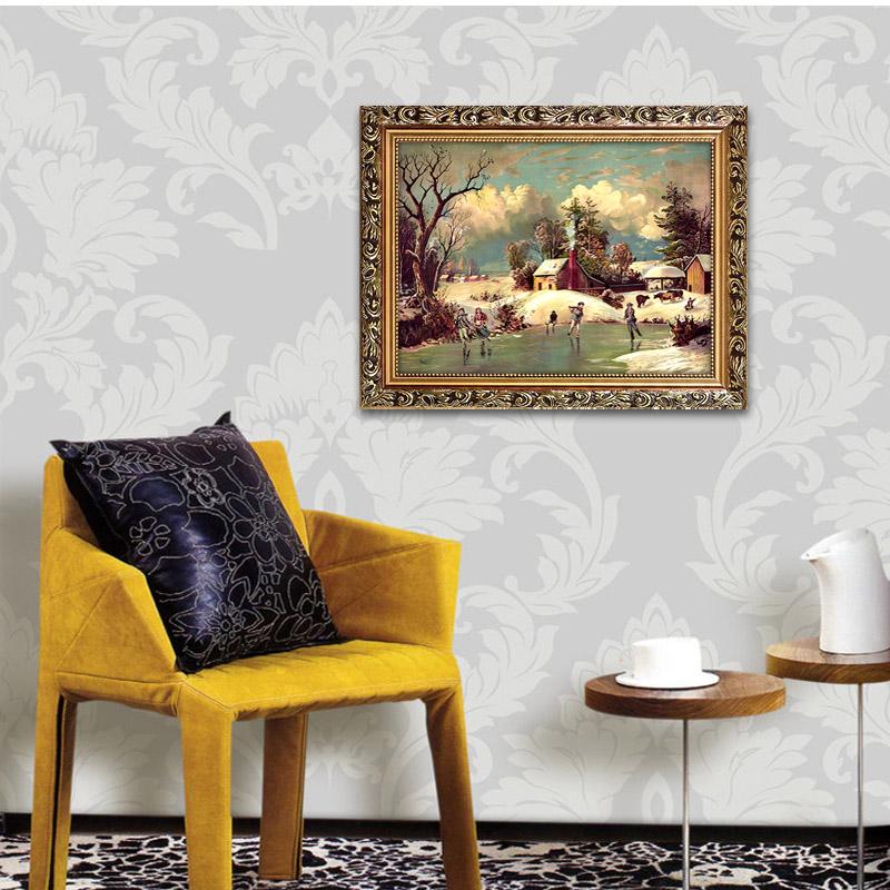 风景欧式装饰画客厅壁画墙上挂画沙发背景山水油画简欧三联画雪景