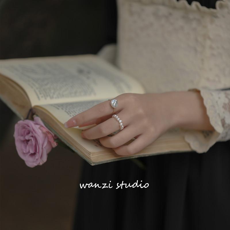 巴洛克异形天然珍珠美国  包金戒指复古不褪色 14K 小众设计 ins