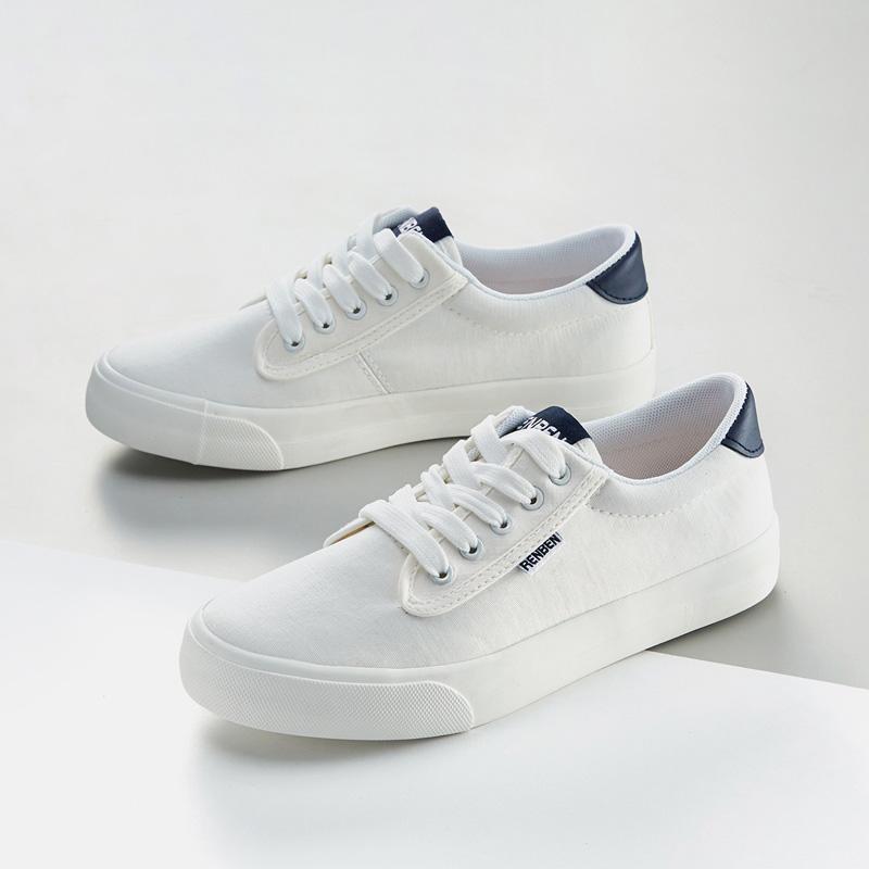 人本帆布鞋女百搭配裙子的小白鞋2019夏韩版情侣平底板鞋布鞋网红
