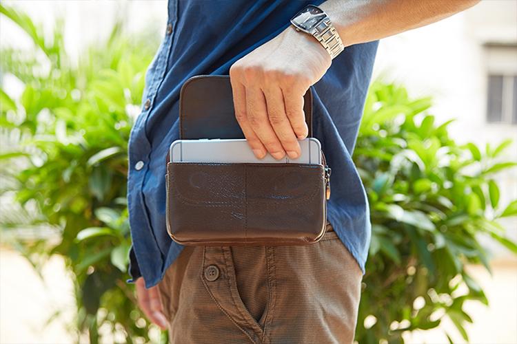 特价新款牛皮真皮手机腰包男穿皮带4寸5.5寸6寸6.3寸商务薄手机包