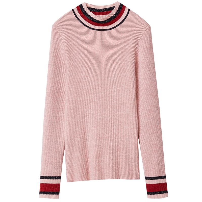 红袖2018冬装新款条纹拼接打底衫女修身半高领打底毛衣套头针织衫