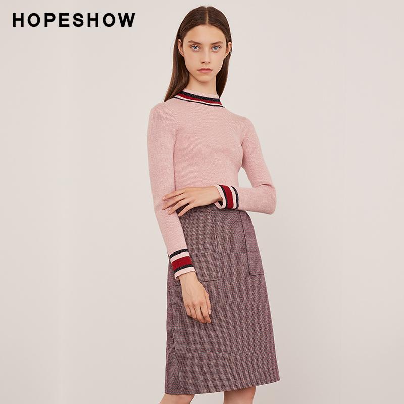 红袖冬季新款女装拼色条纹修身毛衣半高领上衣长袖套头毛针织衫女