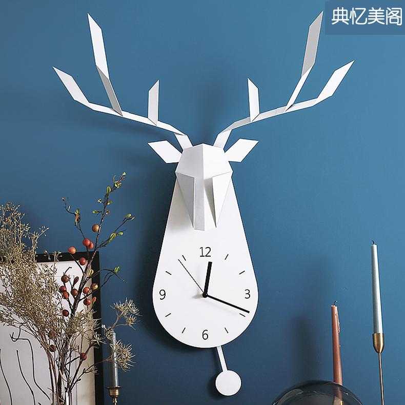 北欧鹿钟创意挂钟客厅个姓时尚钟表客厅家用时钟卧室现代简约大气