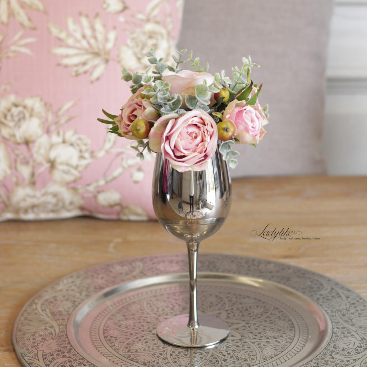ladylike歐式美式創意模擬花假花玫瑰鏡面酒杯高腳杯花藝套裝擺件