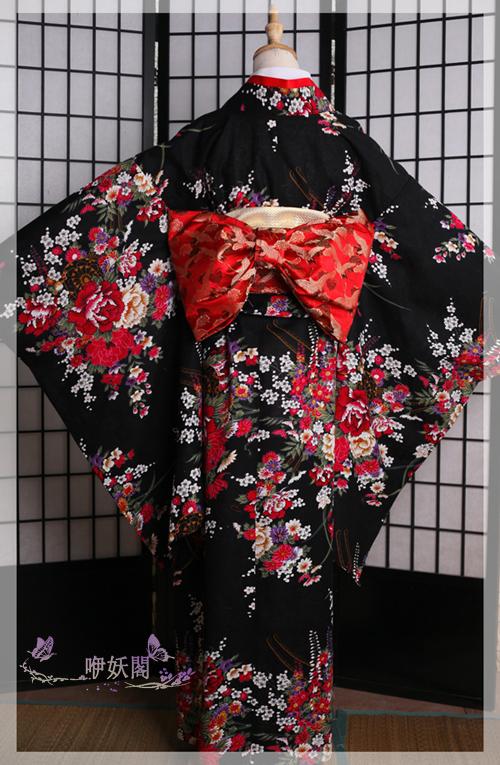 【咿妖】正统日本振袖繁花 黑花魁艺妓打褂女和服日本女装cosplay