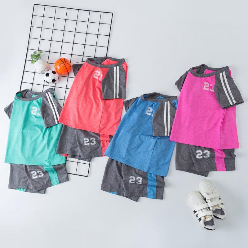 夏装儿童速干衣运动套装男童装女童宝宝中大童休闲纯棉短袖两件套