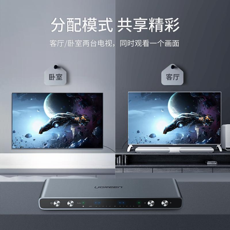绿联hdmi切换器矩阵4进2出分配器电脑台式主机笔记本显示器分屏器